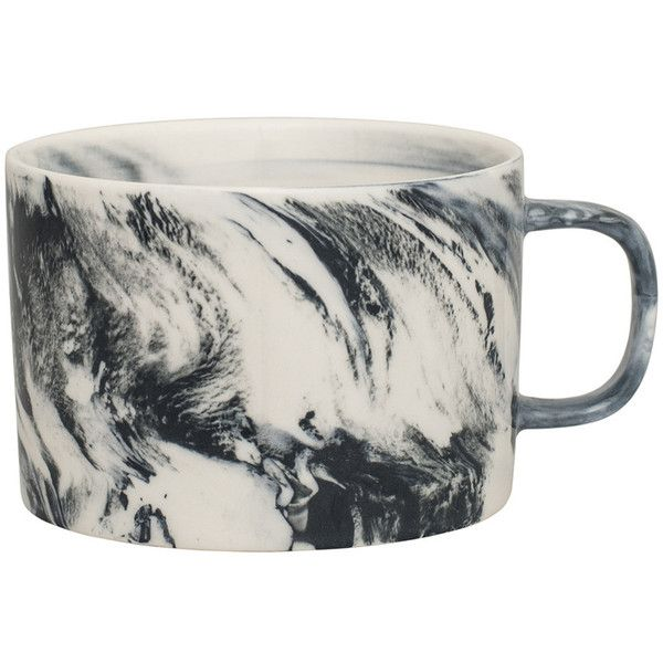 Swirl Marble by Blisshome Marble Mug - Grey ($9.00) ❤ liked on Polyvore featuring home, kitchen & dining, drinkware, grey, marble mug, tea mug, marble cup, grey mugs and tea cup