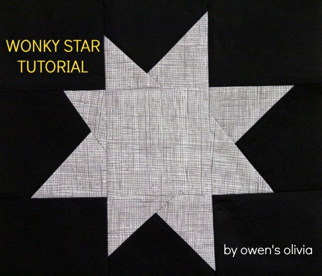 "Wonky Star Block Tutorial by Nancy at Owen's Olivia. Results in a completed 12"" star block."