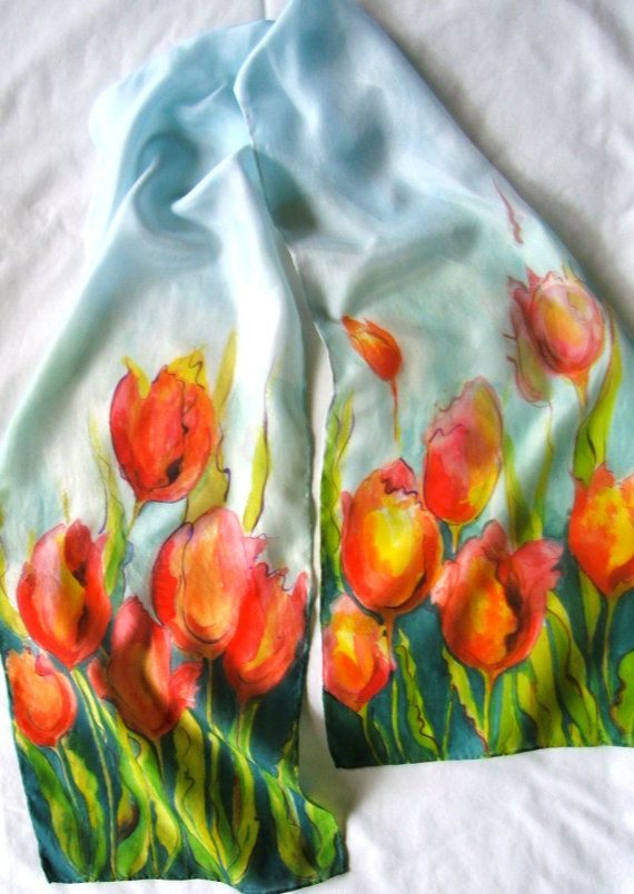 Luxurious Handpainted Silk Scarf by sumacstudio on Etsy, $40.00