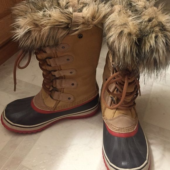 Sorel waterproof boots Worn just a handful of times:) size 6 can fit 6.5 like new I'd say just that rubbing? On the back doesn't hurt the look though:)) SOREL Shoes Winter & Rain Boots