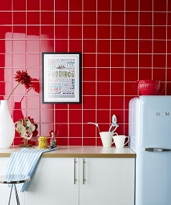 Matrix Flame Red - Bring a dramatic burst of colour to your kitchen with these fantastic bright red tiles