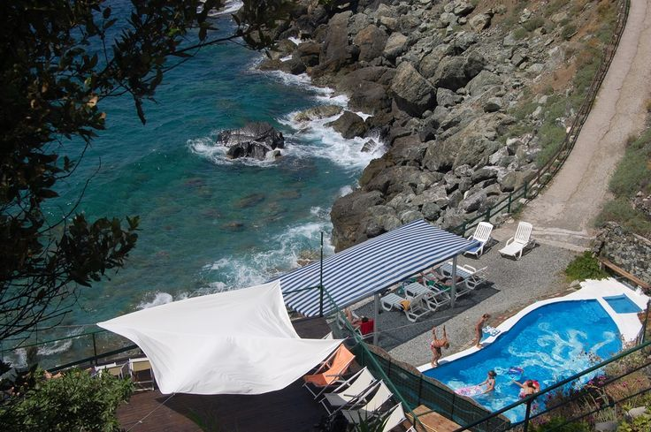 Our beach with one of the swimming pools