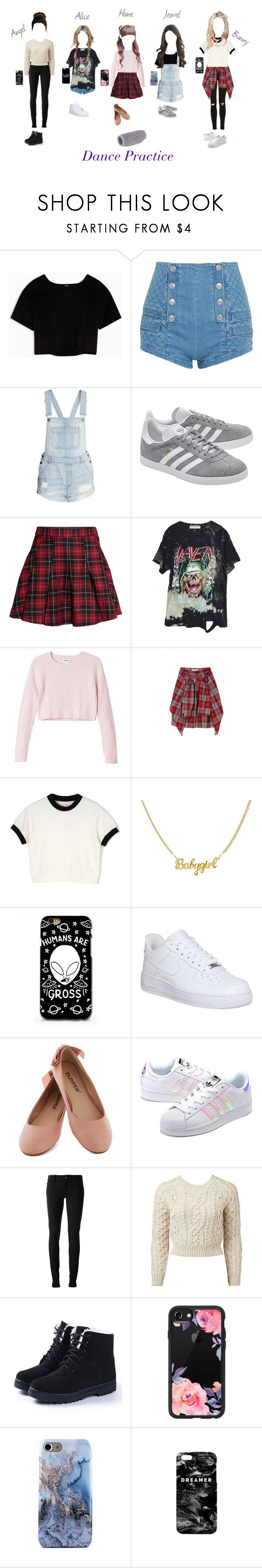 """Wings dance practice"" by wingsofficial ❤ liked on Polyvore featuring Max&Co., Pierre Balmain, adidas Originals, H&M, High Heels Suicide, Monki, NIKE, Gucci, Forever New and Casetify"