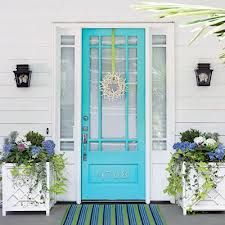 painted front doors - A welcoming entrance. cheery, happy- this would make me feel very pleased to be home.