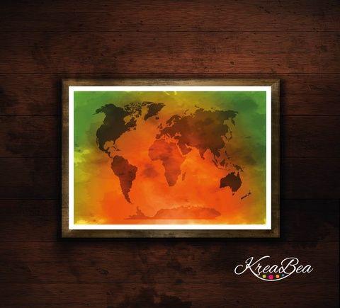 Világtérkép poszter/ plakát, térkép - narancs-zöld szín (kkreabeaa) - Meska.hu