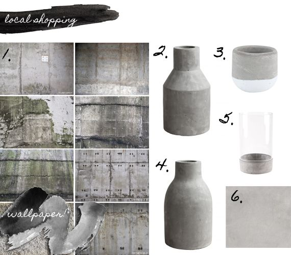 Shopping for gorgeous cement finishes.   1. Cement wallpaper collection from Cape Town based designer Robin Sprong – surface designer  2. Edged cement vase from Weylandts  3. Color blocked cement planter from Mr Price Home  4. Round cement vase from Weylandts  5. Hurricane lamp from Mr Price Home  6. Cement tile 'Uptown Silver' 600 x 600 from Italtile