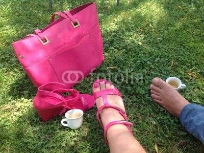 #CoffeeBreak #outdoors #feet #couple #pink #leisure #coffee #lawn #royaltyfree #stockphoto #Fotolia