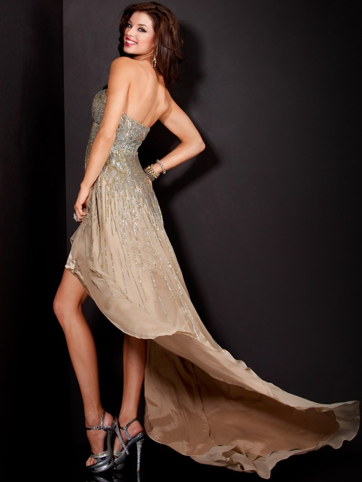Beige and beaded high low gown