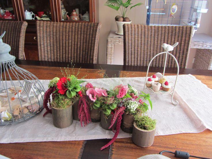 zelfgemaakte bloemstukjes