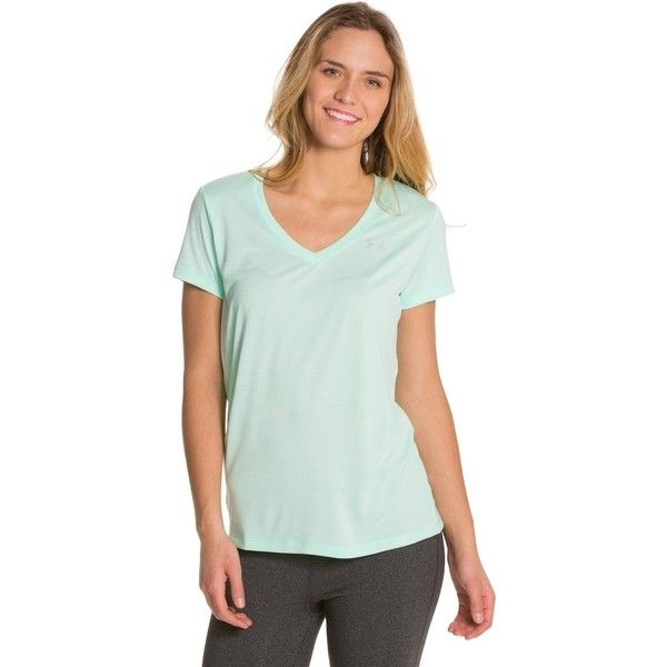 Under Armour Womens Twisted Tech V-Neck Shirt ($20) ❤ liked on Polyvore featuring activewear, activewear tops, under armour shirts, cut loose shirt, green shirt, athletic shirts and workout shirts