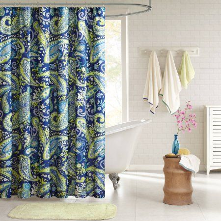 Home Essence Apartment Maya 100% Microfiber Printed Shower Curtain, Blue