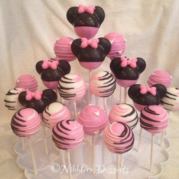 24 Minnie Mouse cake pop Assortment, Red Minnie or Pink Minnie Mouse.