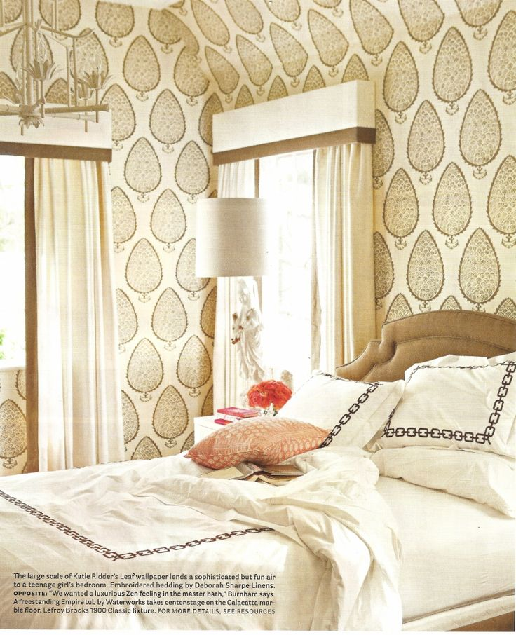that katie ridder wallpaper kills me every time. Deborah Sharpe linens.