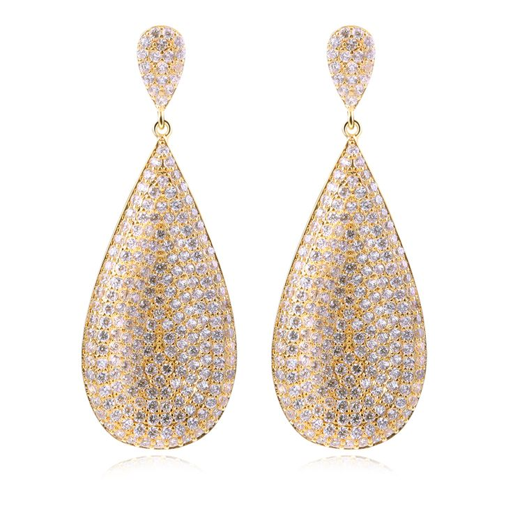 Wholesale price women drop Earrings copper material with gold plated and white cz big earring fashion jewelry Free shipping