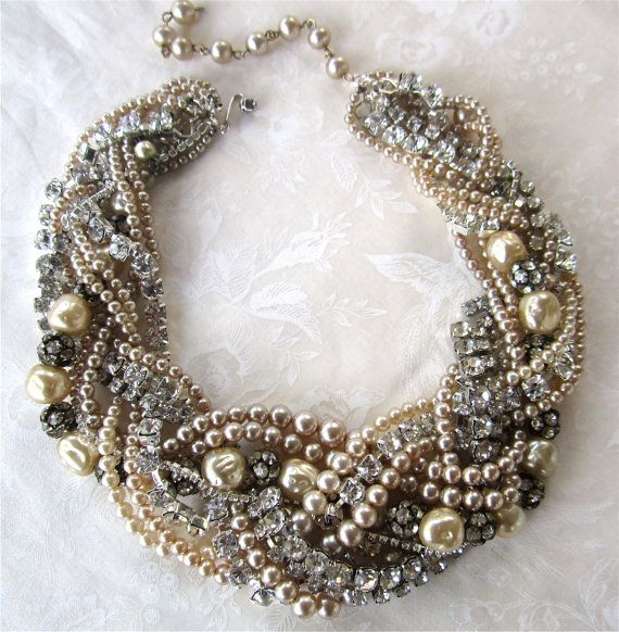 Chunky Pearl & Rhinestone Necklace Huge Bridal Statement Necklace For Vintage Wedding (Tom Binns Inspired). $248.00, via Etsy.
