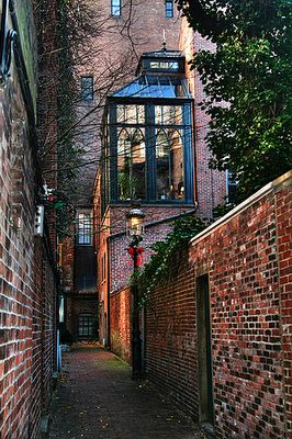 Beacon Hill, Boston. I've been in this alley! on a ghost tour... so it was a little scary. things happened here...