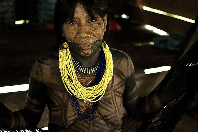 South America | Portrait of a Embera woman with a jagua juice tattoo, Darien, Panama | © Jarek Wilkiewicz