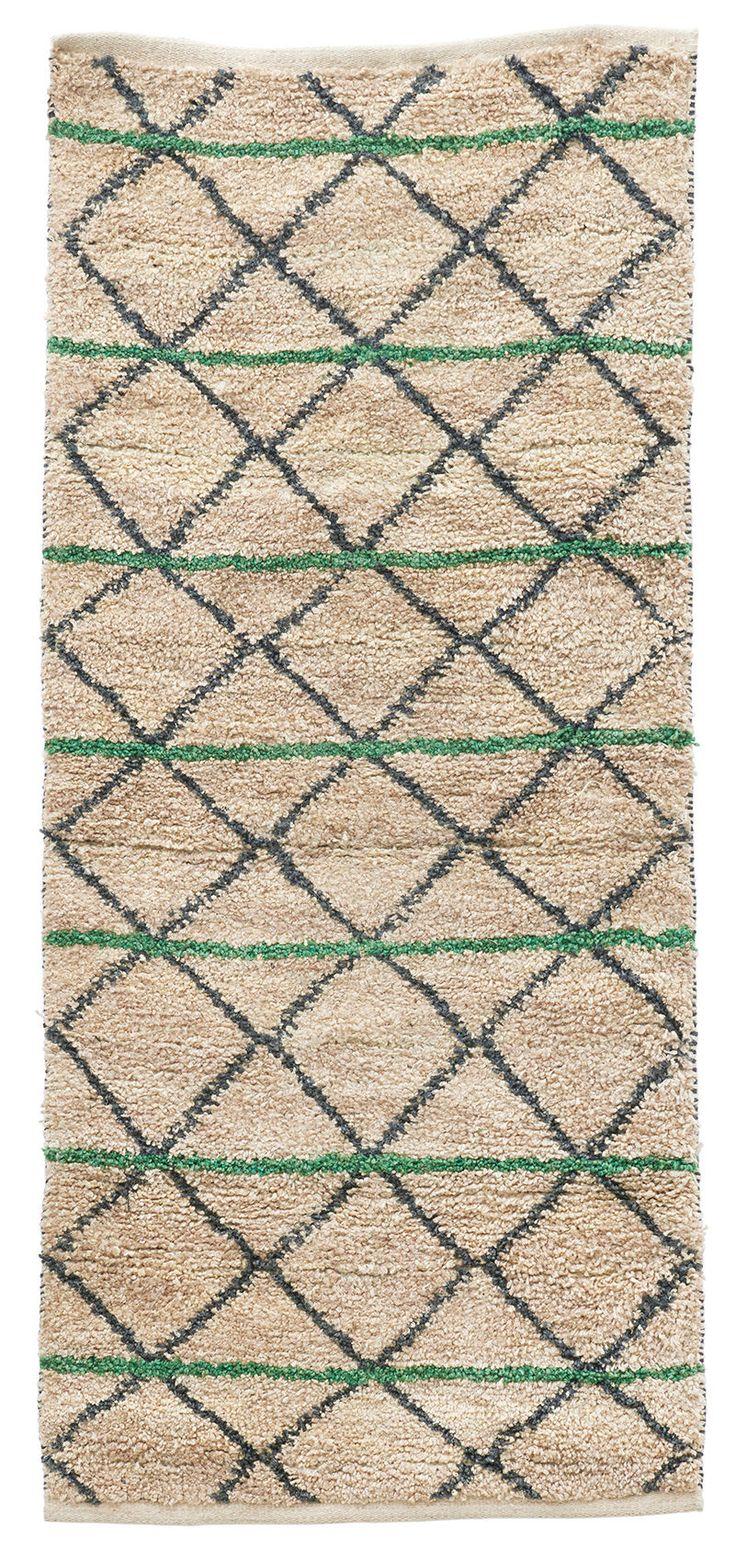 Tapis Green Geometry /90 x 200 cm Green Geometry/ vert, noir & beige - House Doctor