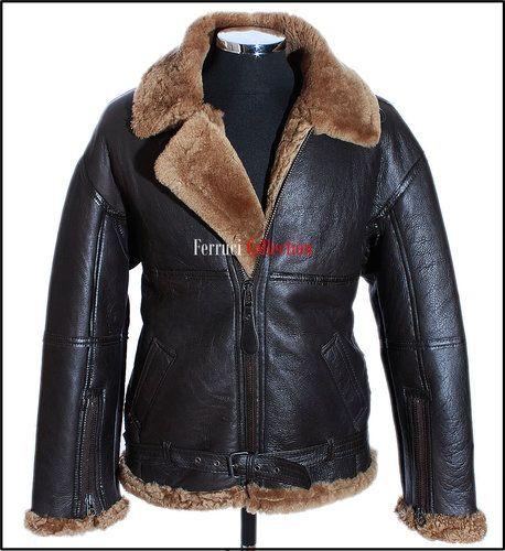 RAF Men's Shearling B3 Brown Ginger Sheepskin WW2 Bomber Leather Flying Jacket $349.99