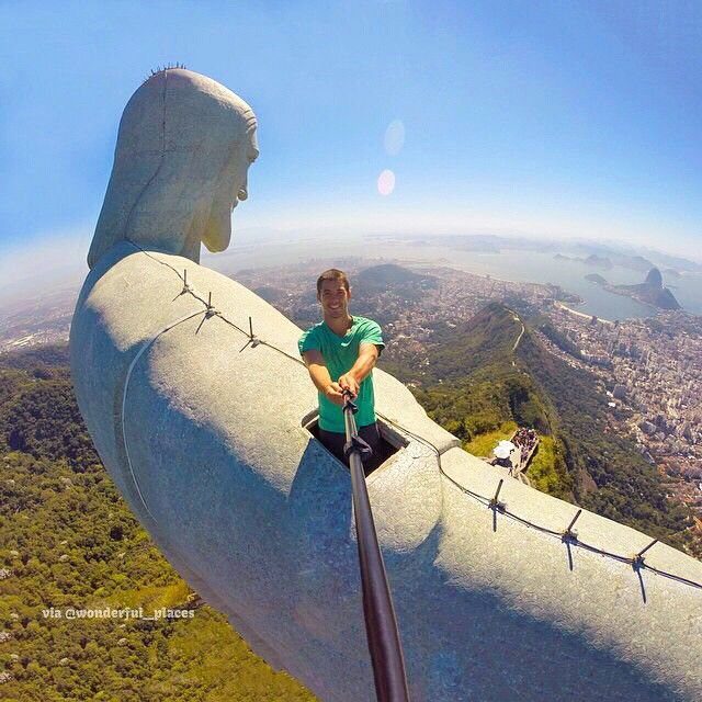 Best Travel South America Images On Pinterest Cities Nature - Guy takes epic selfie top christ redeemer statue brazil