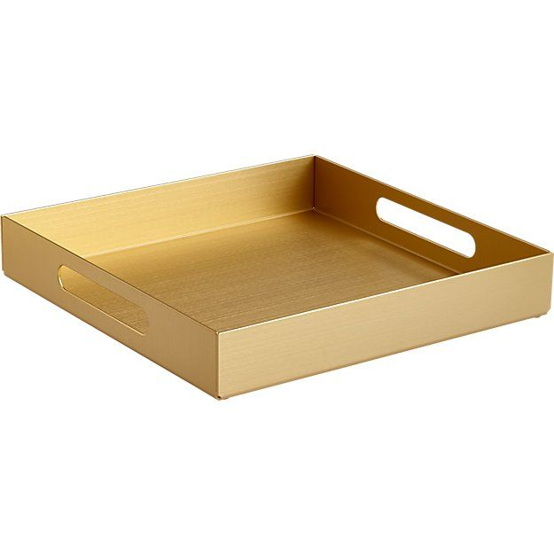 Shop aluminum small gold tray.   Essential butler in aluminum lends a glamorous hand with integrated handles.  Raised rim adds edge, keeps it all in place.  Also spiffs up organization in the office, bedroom, bathroom, living room.