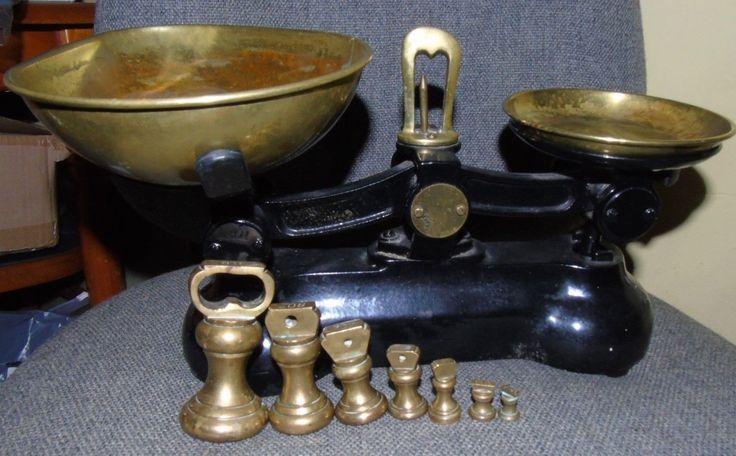 Vintage Set Cast Iron Kitchen Weighing Scales & Weights - Brass Pans – | eBay