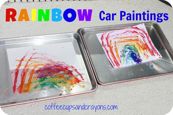 car painting a rainbow