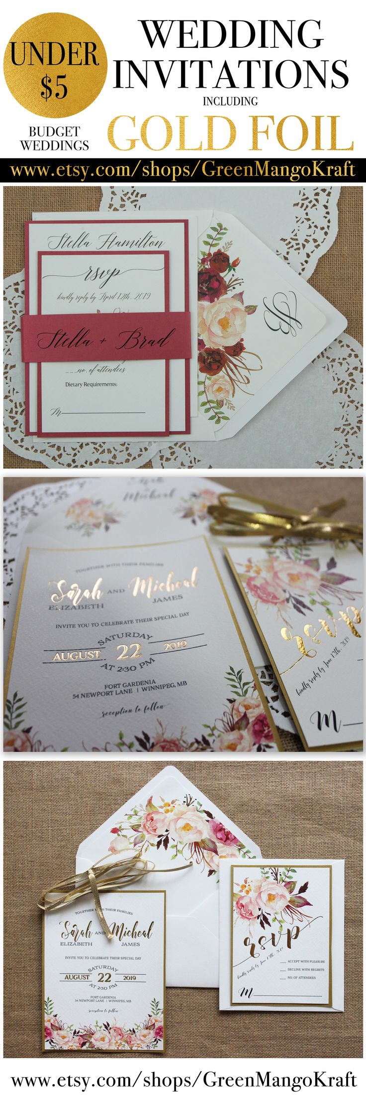 diy wedding invites rustic%0A Gold Foil Wedding Invitations Rustic Invitation Suite Gold Blush Pink  Watercolor Floral Rustic Wedding Invitation Suite