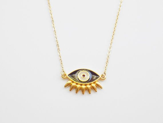 Gold Evil Eye Necklace Lucky Charm Protection by ArroseJewelry #evileyenecklace #daintyjewelry #luckycharm #eyenecklace