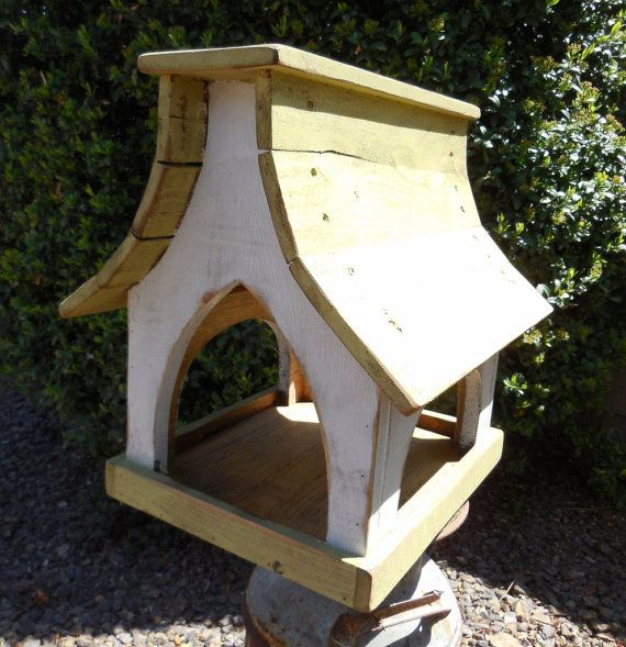 Large Bird Feeder Primitive Bird feeder Wooden by LynxCreekDesigns