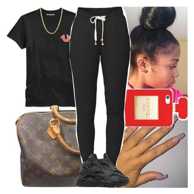 """""""Back2school #14"""" by msixo ❤ liked on Polyvore featuring True Religion, Louis Vuitton, Lija, NIKE and Everlasting Gold"""