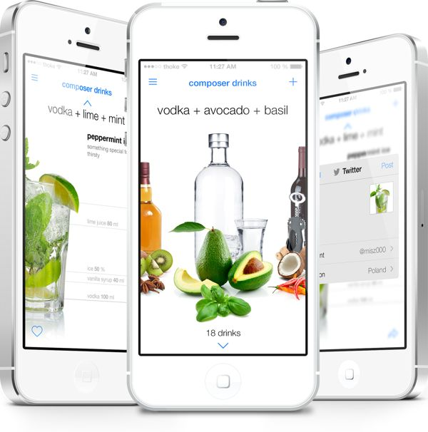 composer drinks app by Michal Galubinski, via Behance