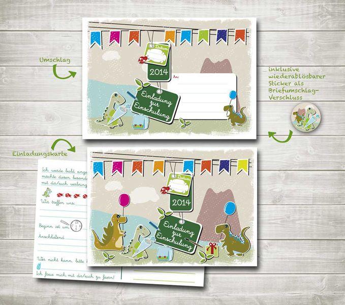 """Einladungskarte Einschulung """"Dino"""" von nordencreativ-design auf DaWanda.com"""
