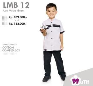 Baju Anak Koko Little Mutif Boy LMB-12 Abu Muda