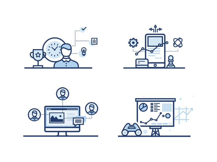 Icon set for productivity, collaboration, forecast and strategy
