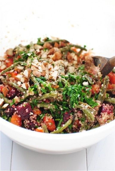 Roasted veggie and quinoa salad with nuts