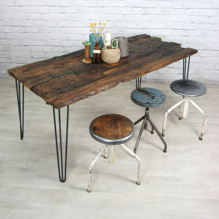Hairpin leg reclaimed barn wood industrial table vintage for Vintage hairpin table legs