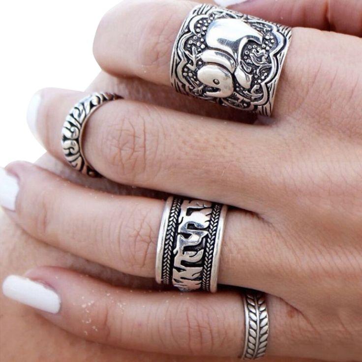 Encontrar Más Anillos Información acerca de Nuevo estilo bohemio Retro anillo de plata elefante anillo Totem Lucky 4 unids/set única tallada Unisex punky de la joyería, alta calidad joyas anillos de esmeraldas, China anillo de soporte de la joyería Proveedores, barato joyería anillo de plata de Shenzhen Tongfangda Technology Co., Ltd. en Aliexpress.com