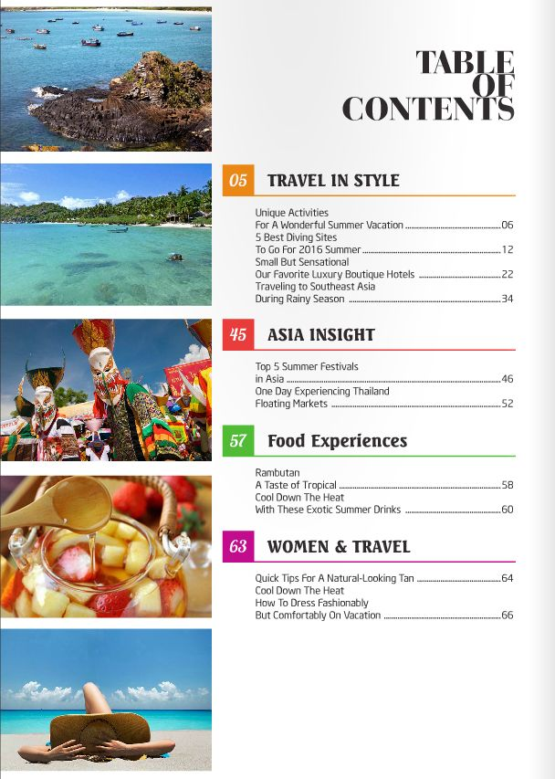15 best Travel In Style Magazine 10th issue from Exotic ...Food Magazine Table Of Contents