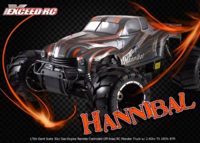 Cheap 1/5 Scale Gas RC Truck | 1/5th Giant Scale Exceed RC Hannibal 30cc Gas-Engine Remote Controlled Off-Road RC Monster Truck w/ 2.4Ghz TX 100% RT...