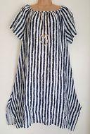 New Blue White Stripe 100% Linen Italian Lagenlook tunic dress uk 18 20 22 24