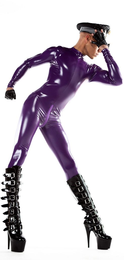 Purple Men's PVC Catsuit Now Available! Color has been photoshopped, it will be approximately this shade of purple. Take a look at the swatch in the images for a look at the actual fabric.
