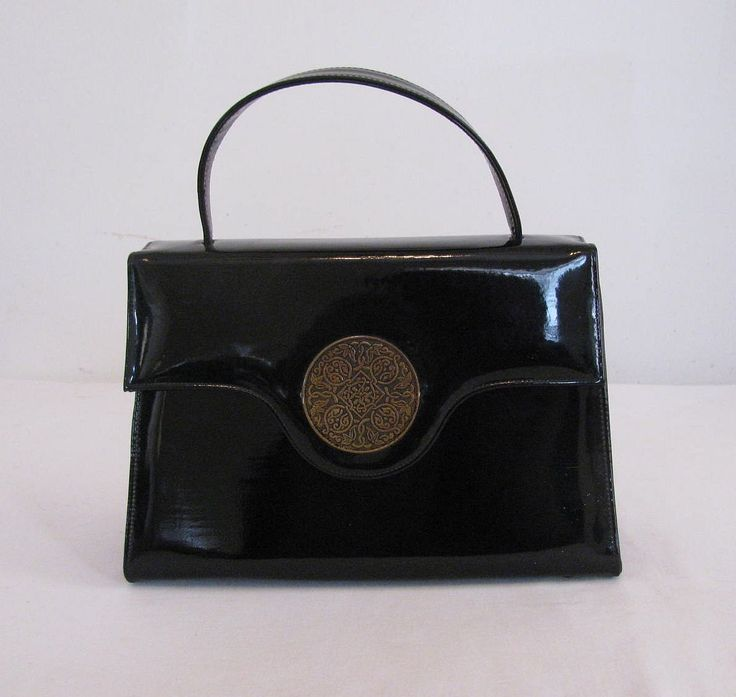 Like New Vintage 1960s Risque Handbag / Purse in Black Faux Patent Leather with Brass Floral Medallion by Snootyparrot on Etsy