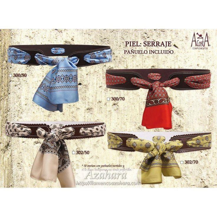 #cinturón de #serraje de #señora con pañuelo. Ideal para #romerías. #complementos #flamencos #Fuengirola