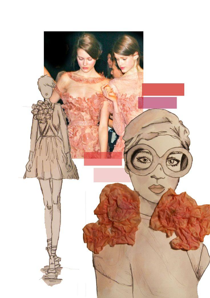 Fashion Portfolio - fashion design board with mixed media fashion illustration; fashion sketchbook // Sarah Davies