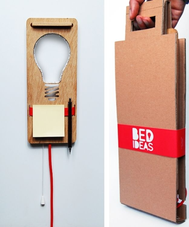 Bedside lamp encourages recording late night ideas