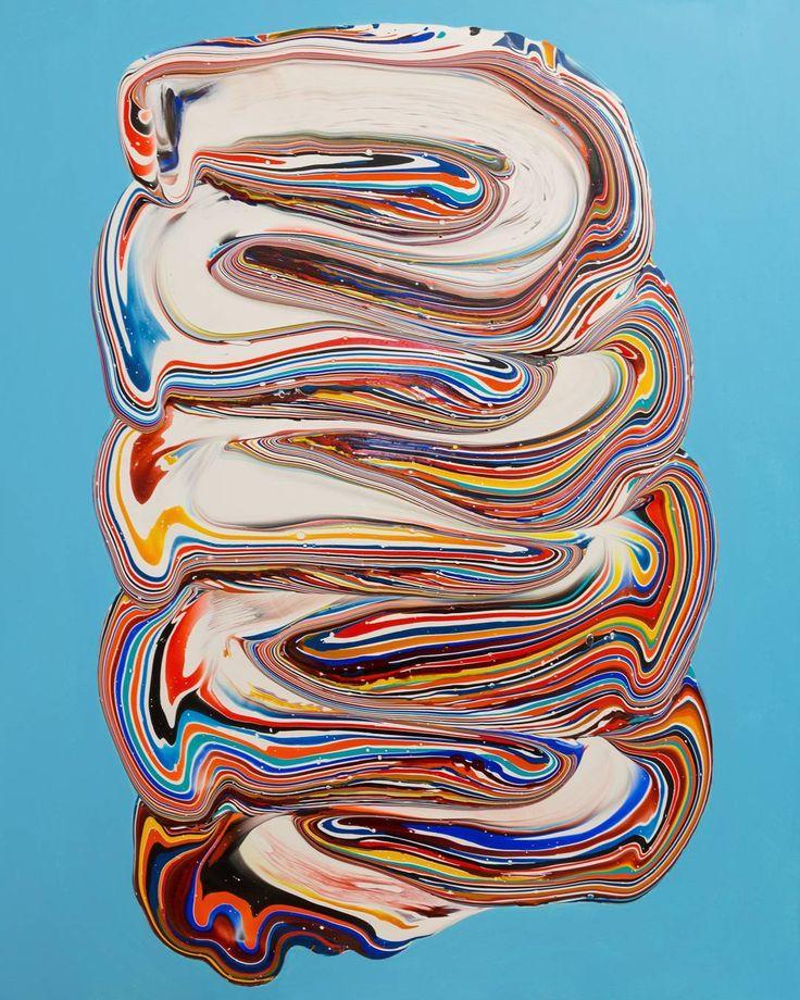 Untitled (on magnesium blue) - acrylic on cotton - 100x80cm - 2016  #dericksmith #dublin #modernart #newwork #contemporarypainting  #contemporaryart #paint #painting #paintings #fineart #art #colourful #holymountain #flow #melt #drip #peinture #blend #acrylic  #blue