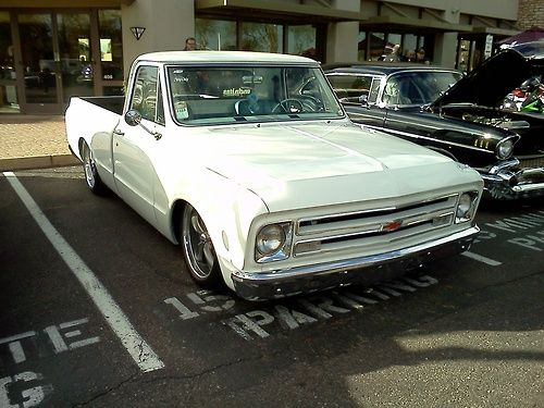Smoothed and slammed Chevy C-10 pickup at the Cars-N-Coffee show in Scottsdale, Arizona, February 2014.