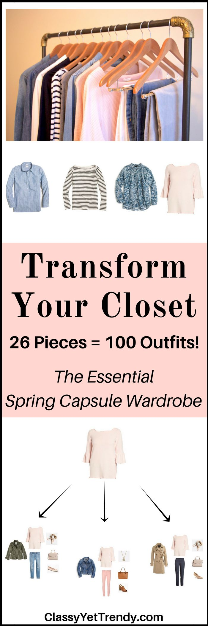 Is your closet full of clothes, but you have nothing to wear? You need… The Essential Capsule Wardrobe e-Book: Spring 2017 Collection! A complete capsule wardrobe guide for the Spring season, With all clothes and shoes* selected for you PLUS, 100 Complete Outfit Ideas! Clothes Style: Classic and Trendy clothes…