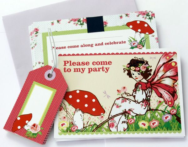 Please come to my little girls garden fairy party invitations - in vintage style from KatyJane Designs